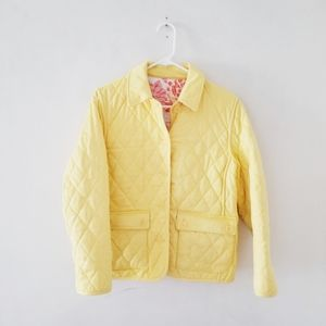 Talbots yellow reversible quilted jacket